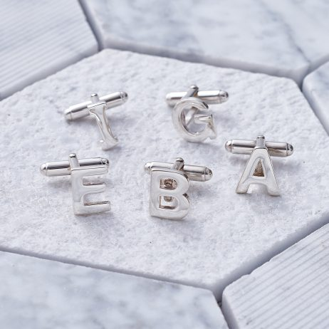 Alphabet Cufflinks in Silver