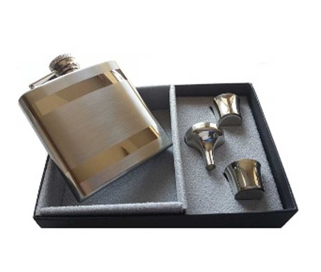 Contrasting Hip Flask Presentation Set