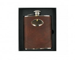 Spanish Leather Engraved Hip Flask with Free Engraving. Personalised Hip Flask in soft brown leather supplied in a Leather Hip Flask presentation box.