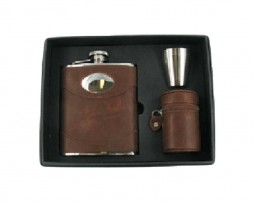 Brown Leather Hip Flask Gift Set