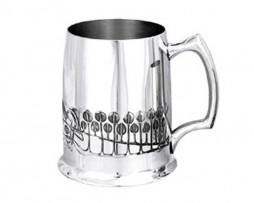 Decorated Rennie Mackintosh Pewter Tankard
