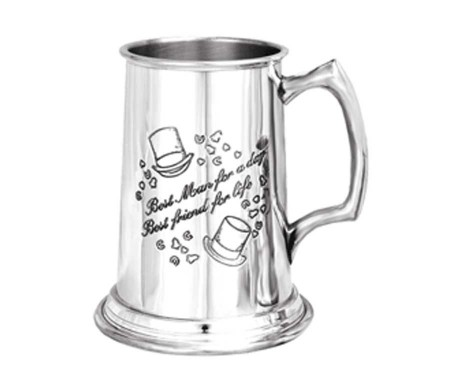 "Best Man Tankard Personalised with engraved inscription. Wedding Personalised Tankard with engraving & top hat/confetti detail. Script reads: ""Best man for a day. Best friend for life."""