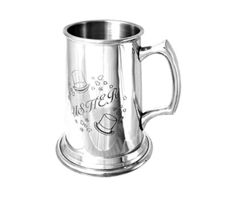Usher Tankard - Personalised & Engraved for Wedding Usher with Engraving Of Your Choice. Thank Wedding Ushers with a Personalised Wedding Usher Tankard.
