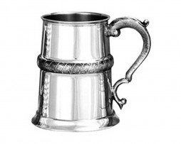 Medieval Banded Pewter Tankard