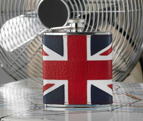 Union Jack Hip Flask In Leather with presentation box. Union Jack hip flask in stainless steel and leather with sleek black, presentation gift box. Cool Iconic Design Union Jack Hip Flask in steel & leather.