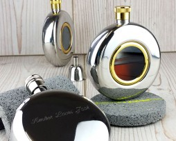 Round Window Personalised Hip Flask with Presentation Box & FREE Engraving