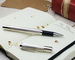 A Luxury Silver Rollerball Pen With Engraveable Lid. Luxury Personalised Pen In Hallmarked Sterling Silver. Free Engraving and Next Day UK Delivery!