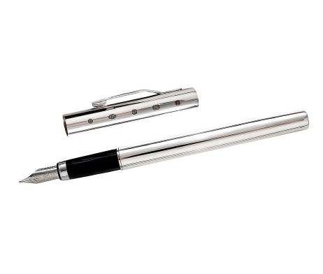 Joe Mason Sterling Silver Personalised Fountain Pen, Gift Box & Free Engraving. A beautiful silver fountain personalised pen with display hallmark & Swift Delivery