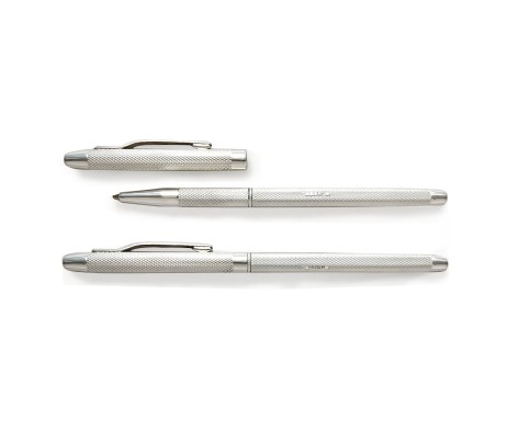 Manton Ladies Silver Lidded Rollerball Personalised Pen & Gift Box with Free Engraving. Handmade 925 Sterling Silver Personalised Pen with Engine Turned Detail