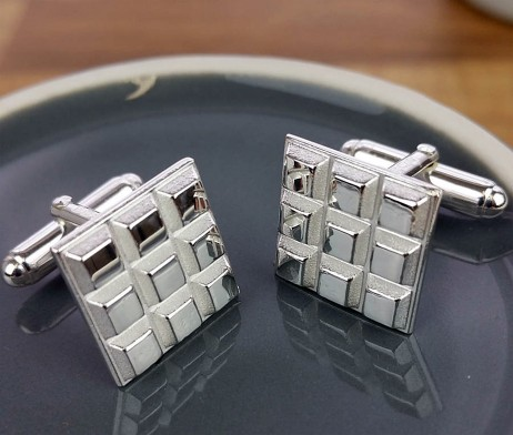 Hint of Chocolate Style Silver Chunky Cufflinks