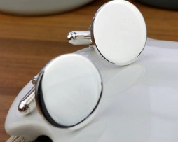 Personalised Round Silver Cufflinks and Presentation Box with Free Engraving