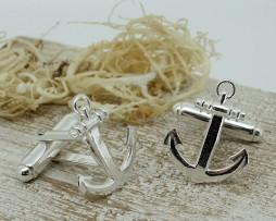 Silver Anchor Shaped Cufflinks with Presentation Box