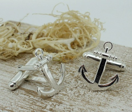 Silver Anchor Shaped Cufflinks with Presentation Box