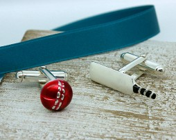 Sterling Silver And Enamel Cricket Cufflinks with Presentation Box