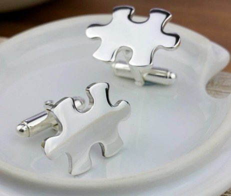 Personalised Jigsaw Cufflinks - Jigsaw Piece Personalised Silver Cufflinks with Presentation Box. Can be ENGRAVED FREE with three initials on each Jigsaw piece. Personalised Sterling Silver Jigsaw Cufflinks with Presentation Box