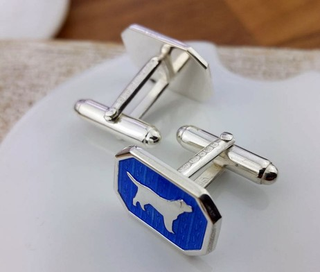 Silver And Blue Enamel Dog Cufflinks with Luxury Presentation Box