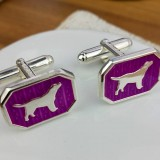 Silver And Cerise Dog Cufflinks