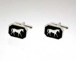 Silver And Enamel Horse Cufflinks