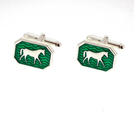 Silver And Enamel Horse Cufflinks