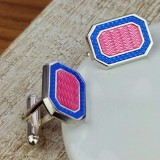 Silver And Enamelled Pink And Purple Cufflinks with Luxury Presentation Box