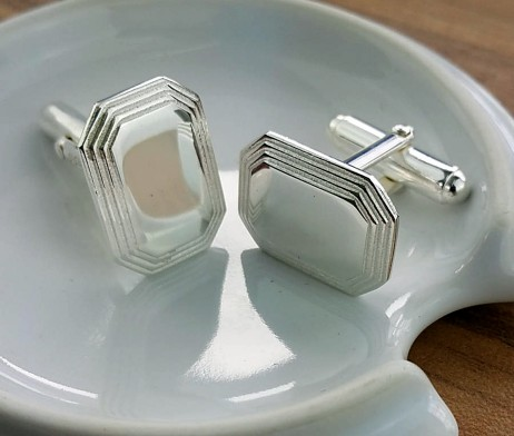 Silver Stepped Lozenge Cufflinks