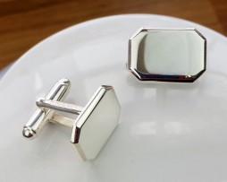 Personalised Silver Lozenge Shaped Cufflinks