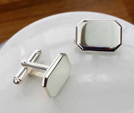 Personalised Silver Lozenge Shaped Cufflinks