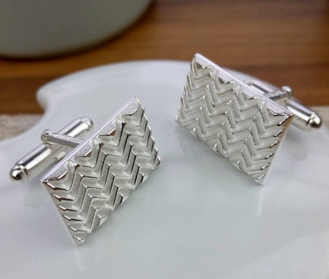 Silver Op Art Wave Cufflinks