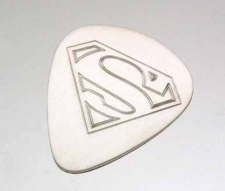 Personalised Silver Superman Plectrum with Free Engraving