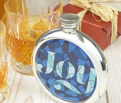 Stained Glass Joy Picture Hip Flask