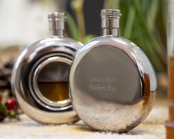 Engraved Round Hip Flask