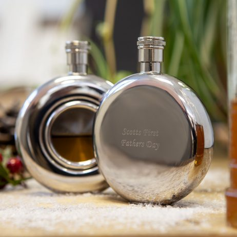 Personalised & Engraved Round Window Hip Flask, Presentation Box & FREE ENGRAVING