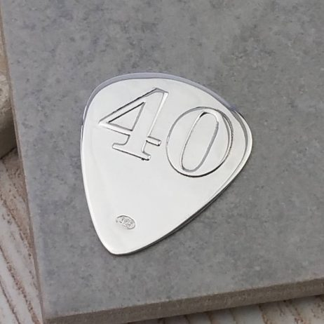 Personalised Silver 40th Birthday Plectrum - GH_Plect40