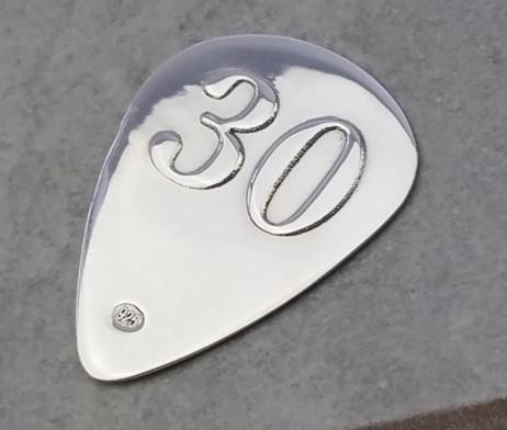 Engraved Silver 30th Birthday Plectrum - Gh_Plect30