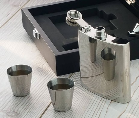 Luxury Engraved Hip Flask Presentation Set - SaRflc11
