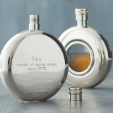 Personalised and Engraved Round Window Hip Flask with Presentation Box & FREE ENGRAVING - fl20