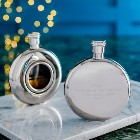Personalised round window hip flask from the online gifts company
