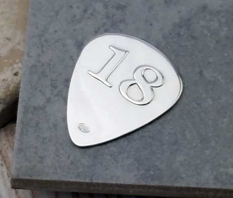 Engraved Silver 18th Birthday Plectrum
