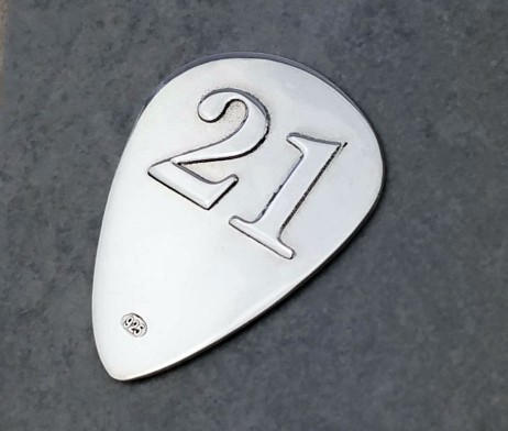 Sterling Silver 21st Birthday Plectrum