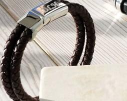 Chestnut Leather Personalised Mens Bracelet