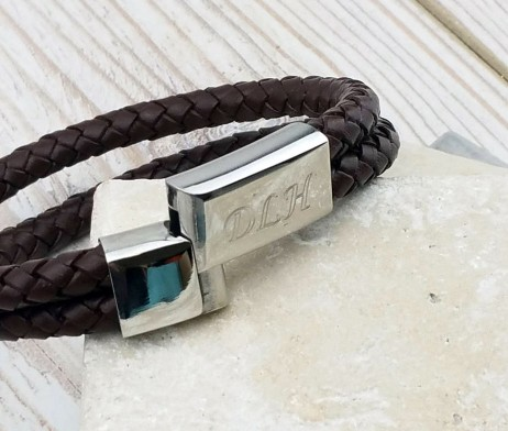 Chestnut Leather Personalised Mens Bracelet