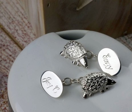 Silver Woodland Hedgehog Cufflinks with Presentation Box and FREE Engraving