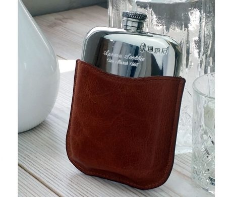 Personalised Leather Hip Flask with Gift Box, Free Engraving and Free Hip Flask Funnel. Made from lead free pewter this Hip Flask is Our Most Popular Hip Flask!