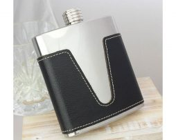 Leather Personalised Hip Flask with presentation box and FREE engraving - SAFL61_01