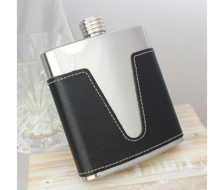 Leather Personalised Hip Flask with presentation box and FREE engraving. Supplied in Black Hip Flask Presentation Box. Leather Hip Flasks.