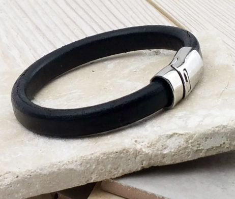 Dubh Leather Personalised Mens Bracelet - OE0024Black