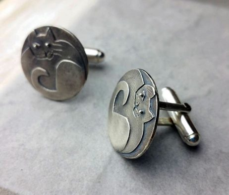 Sprightly Cat Cufflinks In Silver - advclcat