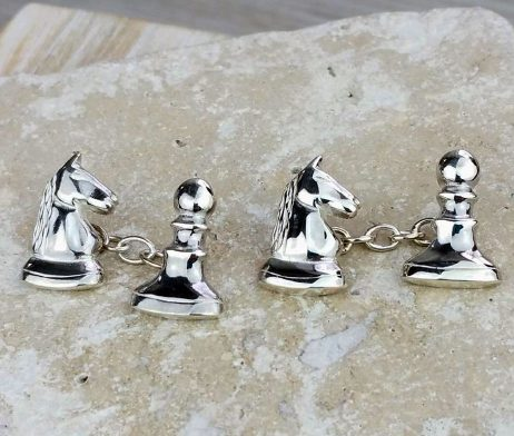 Knight Takes Pawn Chess Silver Cufflinks - dl_clkp_cl_01