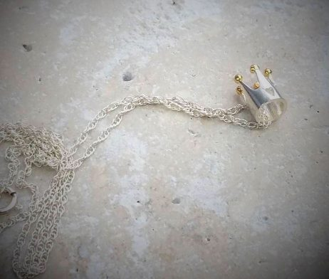 Silver And Gold Princess Crown Necklace - crown_ko13