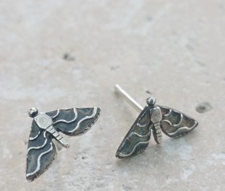 Anna's Majestic Moth Silver Stud Earrings - dl_adv103